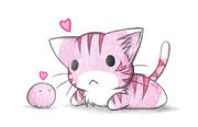 ピンクなカエルとピンクのにゃんこ