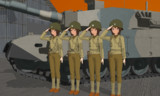 「戦車の前で記念撮影」
