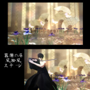 菖蒲の屏風絵風ステージ【ステージ配布】