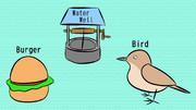 バイト (バーガー、井戸、鳥)
