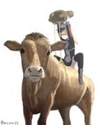 牛に蜜を塗りたくるプリンツ