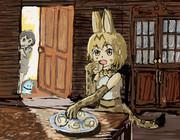 我慢できずに夜中に食べちゃうサーバルちゃん