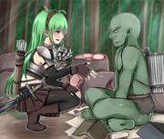 森を調査中に魔物に襲われ危機一髪のところをエルフの女戦士に助けられた子供オーク