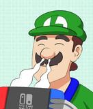 スイッチの排気口の匂いを嗅ぐ緑の人気者