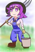 少女農作業中