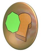 ハト(八角形とトースト)のパールコイン