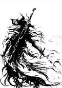 墨絵 逃亡騎士