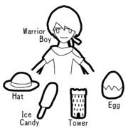 WHITE (Warrior-boy, Hat, Ice-candy, Tower, Egg)