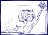 引きずられてもジュースを離さない手乗りコノハ博士GIFアニメ