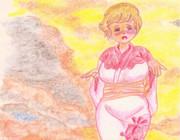 のすじいの昭和色鉛筆戯れ絵・・夕暮れ浴衣(但し小デブ)