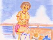 のすじいの昭和色鉛筆戯れ絵・・海辺の小娘 (但し小デブ)