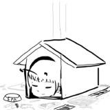 小屋の中で安堵を得るSPAくん