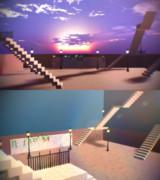 街灯と階段ステージ【ステージ配布】