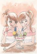 ジャンボパフェを楽しむ双子