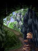 山の洞窟の入り口にて