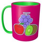ブリキ(ブドウ、リンゴ、キウイ)のマグカップ