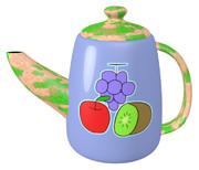 ブリキ(ブドウ、リンゴ、キウイ)のティーポット