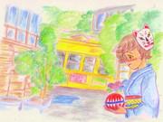 のすじいの昭和色鉛筆戯(ざ)れ絵 梅雨明けの都電路地