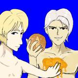 パンを持つフェルナンとパンにはちみつを塗ってあげるクレーべBB