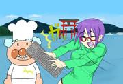 厳島神社でジャムおじさんをキーボードで叩くメガネっ娘