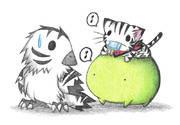 シマフクロウとカエルとにゃんこ