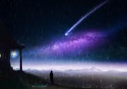雨中の流星