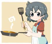 ホットケーキを焼くかばんちゃん