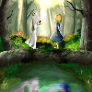 ときあめ少女少年と白ドレスの少女