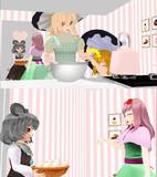 ICG姉貴にお菓子作りを教わりに来たSZ姉貴とUDK姉貴