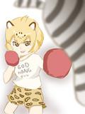 サンドバッグでボクシングの練習をするジャガーさん