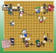 囲碁の盤面(序盤)を東方キャラで表してみました