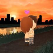 夕日でキス