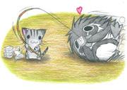 豆腐でペンギンを釣るにゃんこ