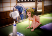 [gifアニメ] 扇風機にあたるGUMIさん