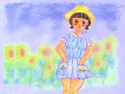 のすじいの昭和色鉛筆戯れ絵 ・・夏のおんなのこ