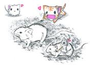 ネズミを描くにゃんこ
