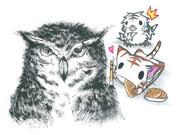 フクロウを描くにゃんこ