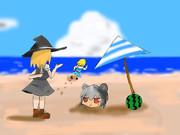 ICG姉貴と海水浴に来るも、罠にはまり頭より下を砂に埋められたNYN姉貴に歩み寄るSZ姉貴