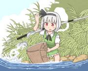 鮎の友釣りをする妖夢ちゃん