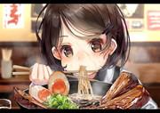 ラーメン食べる女児