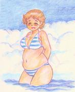 のすじいの昭和色鉛筆戯れ絵 ・・安定感のあるビキニ(笑)・・