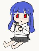 雪美ちゃんがカップらぁめん食うGIFアニメ