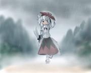 雨に降られる椛さん