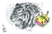 虎を描くにゃんこ