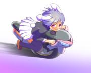 一輪バイクで爆走レイセン