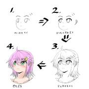 へのへのもへじから女の子を描く方法