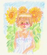 のすじいの昭和色鉛筆戯れ絵 ・・恋と言う名前の夏の花