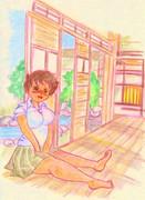 のすじいの昭和色鉛筆戯れ絵 ・・涼む少女。