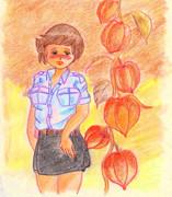 のすじいの昭和色鉛筆戯れ絵 ・・秋のいろ・・
