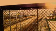 夕暮れ時の電車と線路と柵 #風景画 #背景画 #イラスト